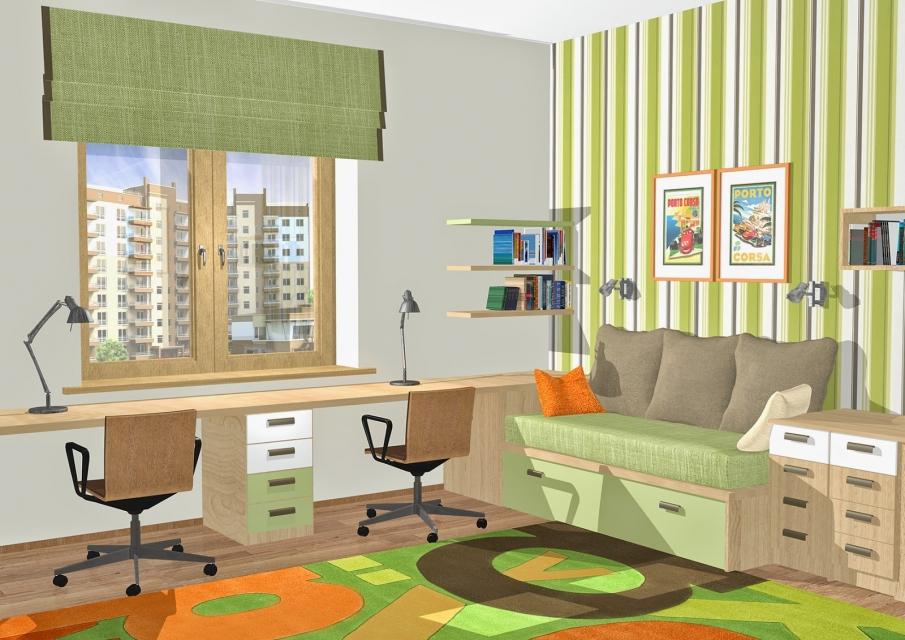 дизайн комнаты для двух школьников